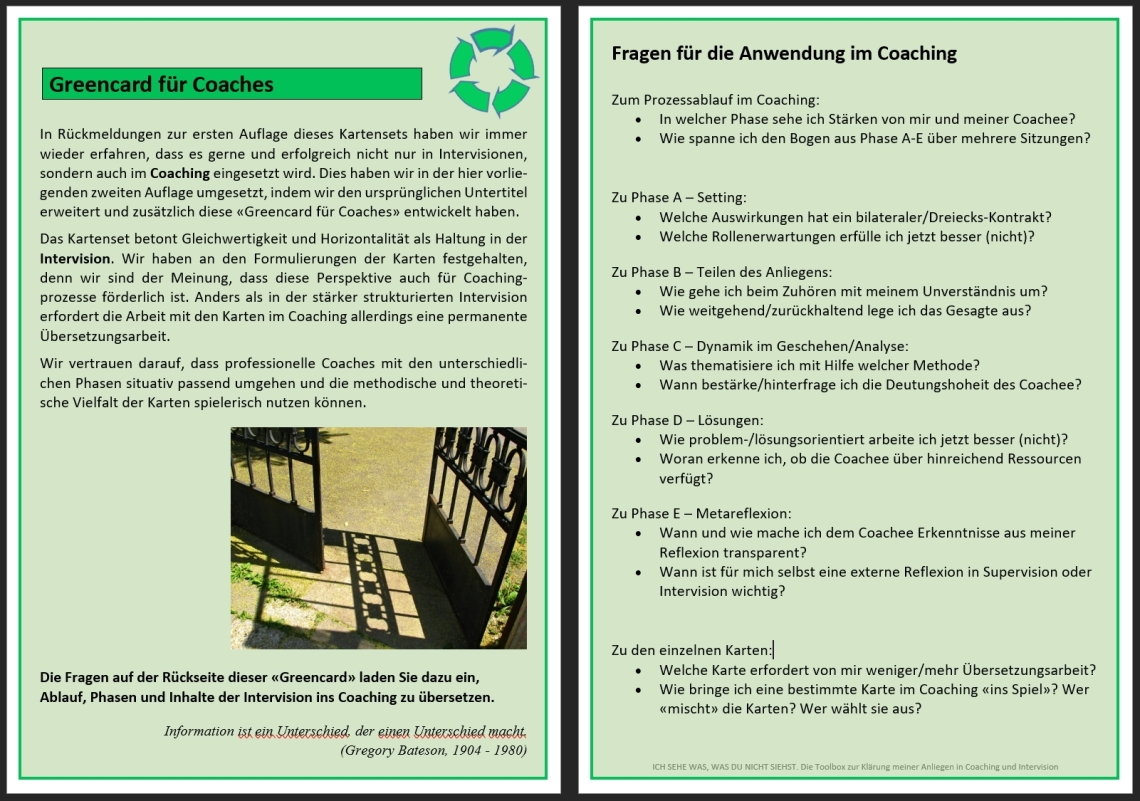 Greencard für Coaches